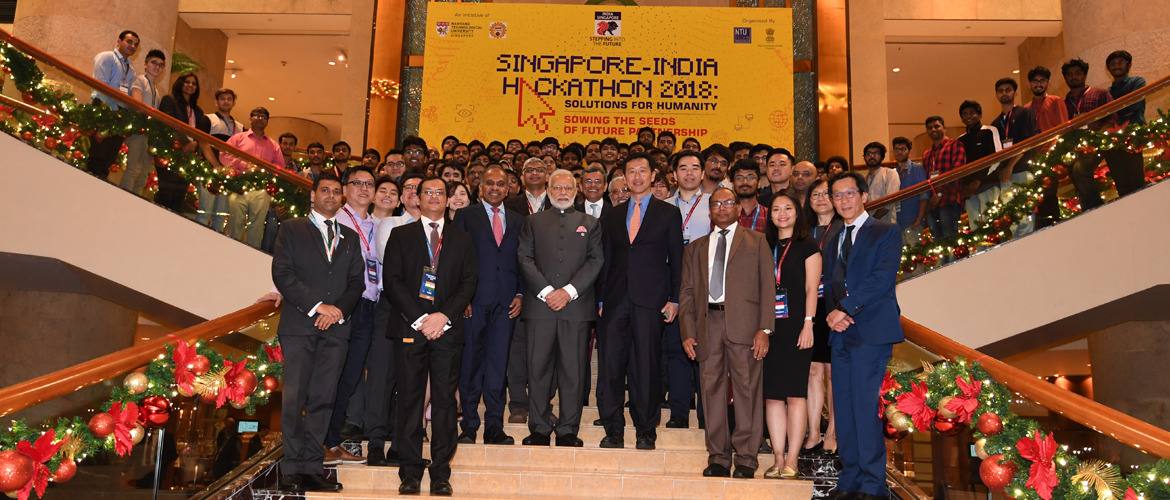 Hon'ble PM meets the winning teams of 'India-Singapore Hackathon 2018'