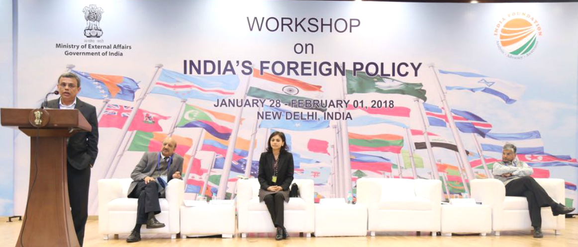 Mr Jawed Ashraf, High Commissioner of India, is speaking at the Workshop on India's Foreign Policy organised by India Foundation in collaboration with MEA