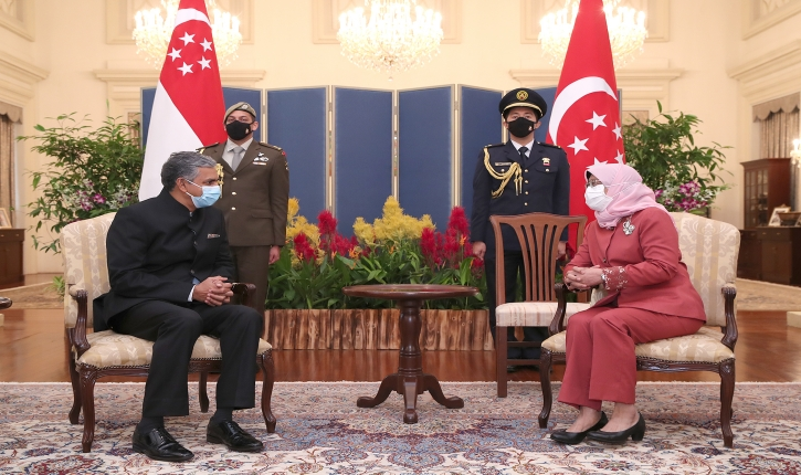 High Commissioner of India to Singapore Shri P.Kumaran presented his credentials to H.E.  President Halimah Yacob on August 25, 2020