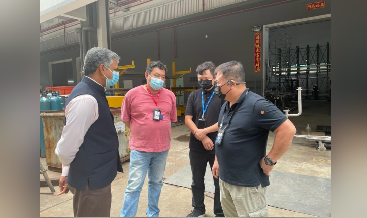 High Commissioner of India, Singapore P. Kumaran visited the site of the fire at 32E Tuas Avenue 11 during which Officials from Singapore Ministry of Manpower briefed him about the incident.