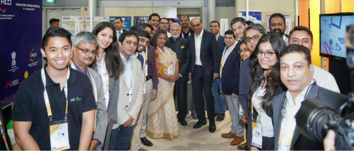 Hon'ble Prime Minister Shri Narendra Modi visited the India Pavilion at Singapore Fintech Festival